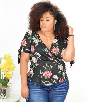 PLUS SIZE FLORAL SHEER TOP+