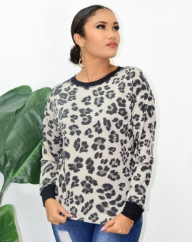 CHEETAH ROUND NECK TOP