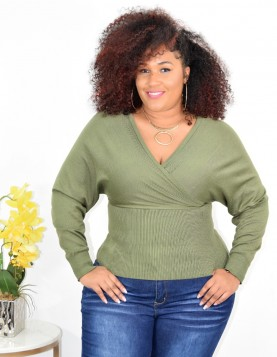 PLUS SIZE MOCK WRAP SWEATER MORE COLORS++