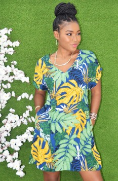 HAWAIIAN LEAF PRINT SHIFT DRESS