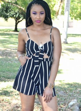 Striped Knotted Romper