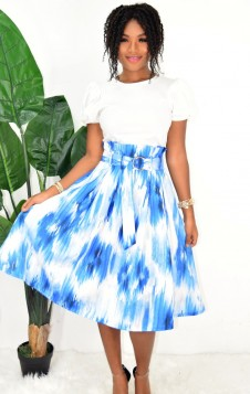 SO CHIC BELTED ABSTRACT SKIRT