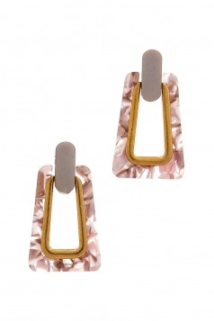 ACETATE RECTANGULAR SHAPE POST DROP EARRING