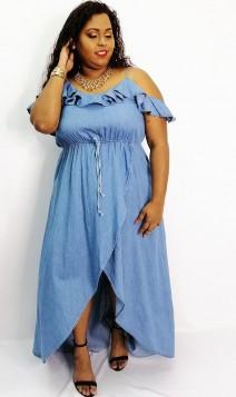 Handle It Denim Cold Shoulder Dress +