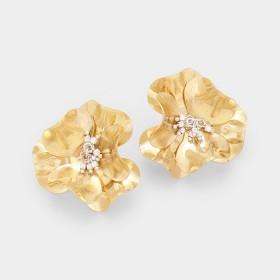 METAL BLOOM FLOWER POST EARRINGS GOLD