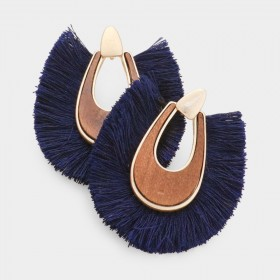 WOOD FAN TASSEL EARRINGS