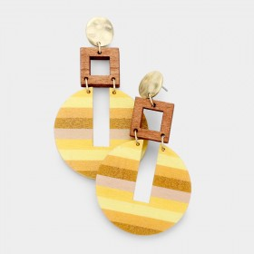 STRIPE PATTERN WOOD DANGLE EARRINGS YELLOW