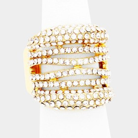 CUT OUT CRYSTAL RHINESTONE PAVE STRETCH RING