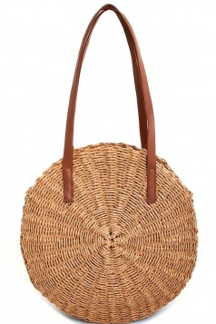 HOT TRENDY NATURAL FIBER WOVEN CIRCLE TOTE BAG