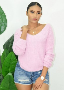 Fuzzy V Neck Sweater Top