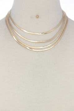 FLAT SNAKE CHAIN LAYERED SHORT NECKLACE