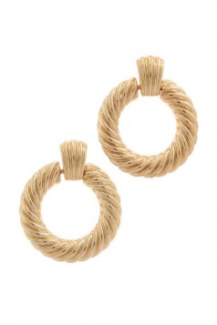 TEXTURED CIRCLE METAL POST DROP EARRING