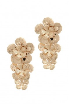 CHUNKY FLORAL METAL POST DROP EARRING