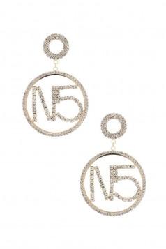 N.O 5 RHINESTONE DOUBLE CIRCLE EARRING