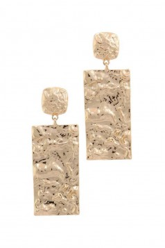 HAMMERED RECTANGULAR SHAPE POST DROP EARRING