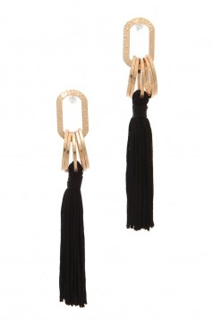 OVAL SHAPE TASSEL DROP EARRING BLACK