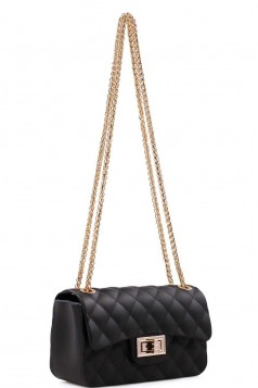 CUTE TRENDY SOFT JELLY CROSSBODY BAG WITH CHAIN BLACK