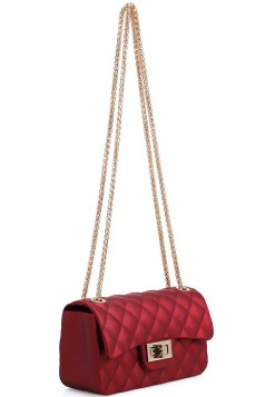 CUTE TRENDY SOFT JELLY CROSSBODY BAG WITH CHAIN WINE
