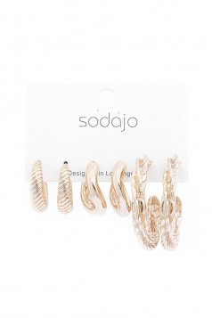 SODAJO 3 PAIR CURVED DESIGN OPEN CIRCLE EARRING SET