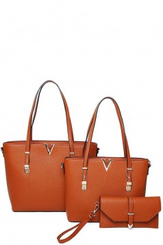 3IN1 V ACCENTED TOTE AND CLUTCH SET