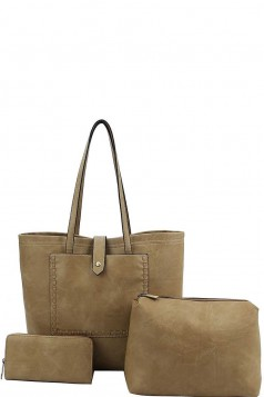 3IN1 DESIGNER FASHION TOTE BAG SET OLIVE