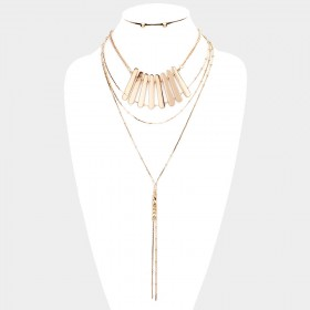 METAL COLLAR BAR FRINGE LAYERED NECKLACE