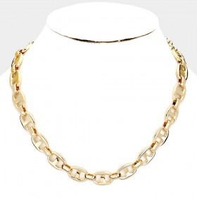 ABSTRACT METAL LINK COLLAR NECKLACE