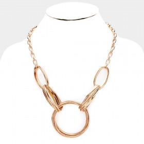 COIL METAL OPEN CIRCLE LINKED NECKLACE