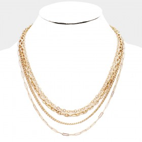 MULTI METAL CHAIN LAYERED NECKLACE