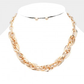 METAL MULTI LINK CHAIN COLLAR NECKLACE