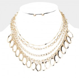 MULTI CHAIN LINK DROP METAL BIB NECKLACE