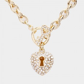 HEART KEY AND LOCK PENDANT CHAIN TOGGLE NECKLACE