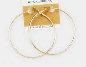 STAINLESS STEEL HYPO ALLERGENIC METAL HOOP EARRINGS 2.5 INCH