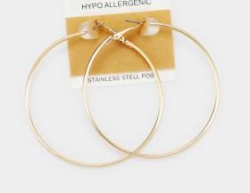 STAINLESS STEEL HYPO ALLERGENIC METAL HOOP EARRINGS 3 INCH
