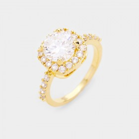 Gold Dipped Halo Cubic Zirconia Ring